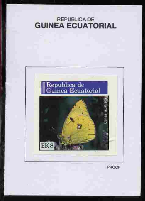 Equatorial Guinea 1976 Butterflies 8EK Colias australis proof in issued colours mounted on small card - as Michel 967
