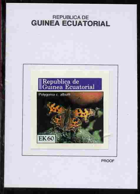 Equatorial Guinea 1976 Butterflies 60EK Polygonia c. album proof in issued colours mounted on small card - as Michel 970