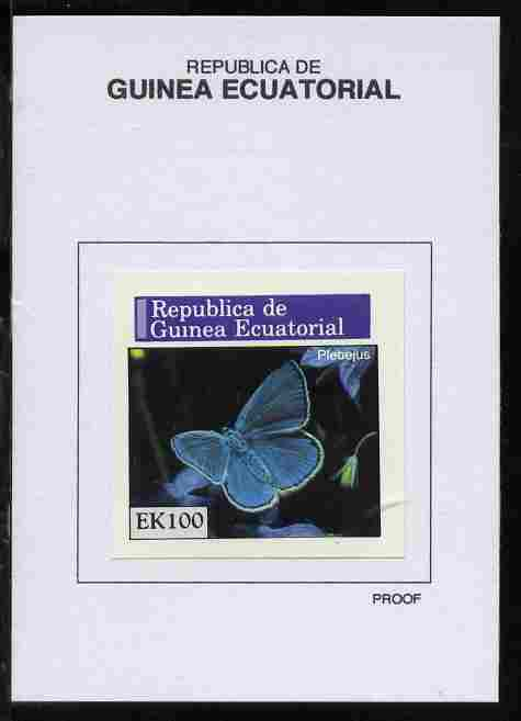 Equatorial Guinea 1976 Butterflies 100EK Plebejus proof in issued colours mounted on small card - as Michel 971