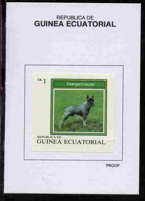 Equatorial Guinea 1977 Dogs 1EK Zwergschnauzer proof in issued colours mounted on small card - as Michel 1129