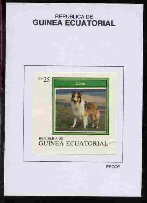 Equatorial Guinea 1977 Dogs 25EK Collie proof in issued colours mounted on small card - as Michel 1133