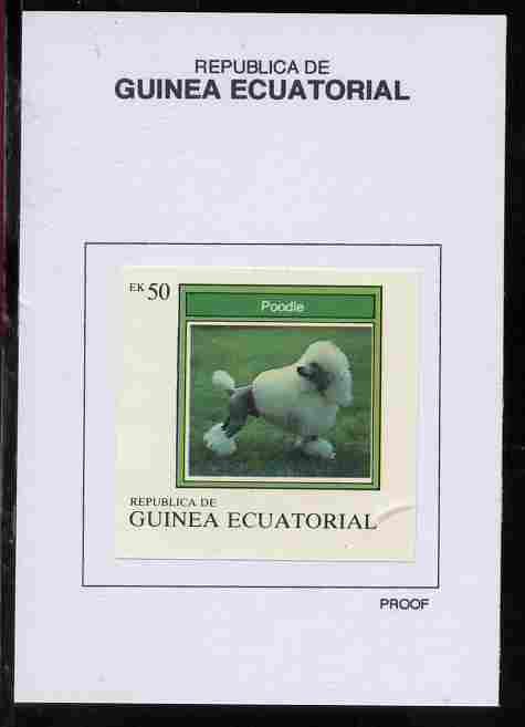 Equatorial Guinea 1977 Dogs 50EK Poodle proof in issued colours mounted on small card - as Michel 1134