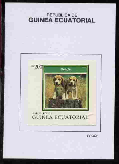 Equatorial Guinea 1977 Dogs 200EK Beagle proof in issued colours mounted on small card - as Michel 1136