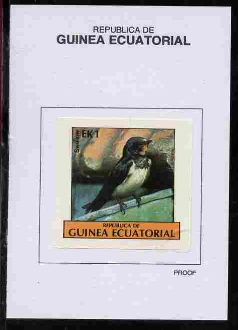 Equatorial Guinea 1977 Birds 1EK Swallow proof in issued colours mounted on small card - as Michel 1205