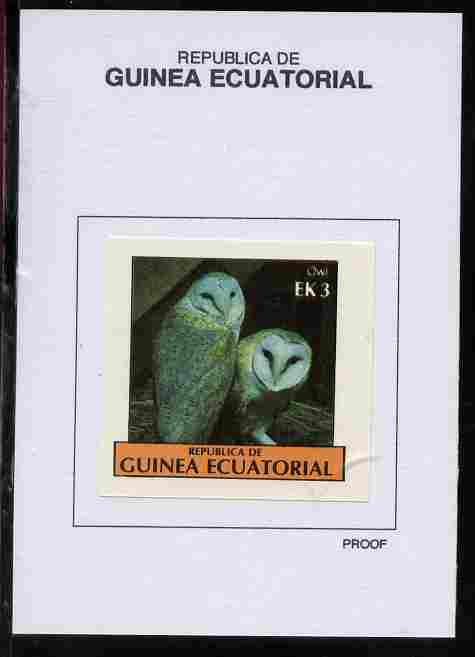 Equatorial Guinea 1977 Birds 3EK Owl proof in issued colours mounted on small card - as Michel 1206