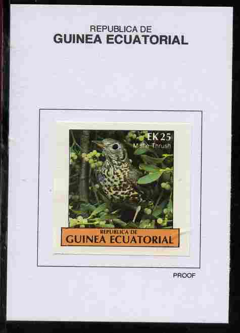 Equatorial Guinea 1977 Birds 25EK Mistle Thrush proof in issued colours mounted on small card - as Michel 1209