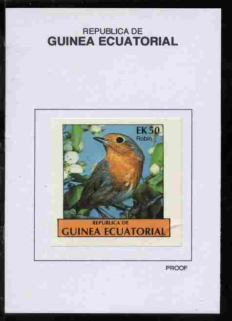 Equatorial Guinea 1977 Birds 50EK Robin proof in issued colours mounted on small card - as Michel 1210