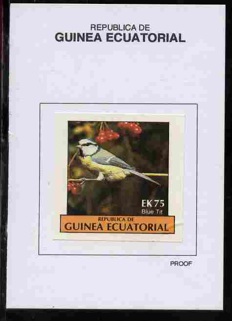 Equatorial Guinea 1977 Birds 75EK Blue Tit proof in issued colours mounted on small card - as Michel 1211