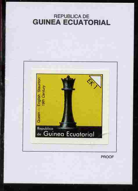 Equatorial Guinea 1976 Chessmen 1EK Queen (English Staunton) proof in issued colours mounted on small card - as Michel 956
