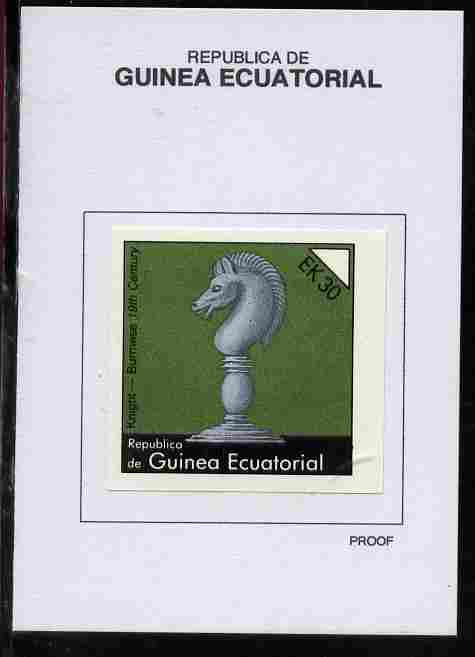 Equatorial Guinea 1976 Chessmen 30EK Knight (Burmese 19th Century) proof in issued colours mounted on small card - as Michel 961