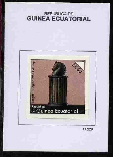 Equatorial Guinea 1976 Chessmen 60EK Knight (English 19th Century) proof in issued colours mounted on small card - as Michel 962