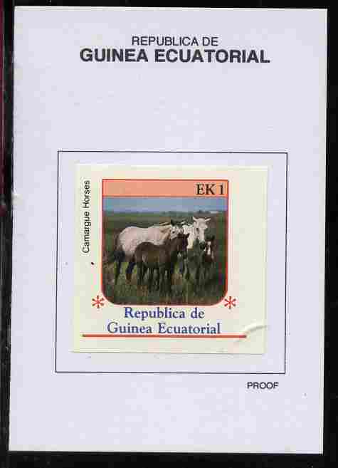 Equatorial Guinea 1976 Horses 1EK Camargue proof in issued colours mounted on small card - as Michel 805