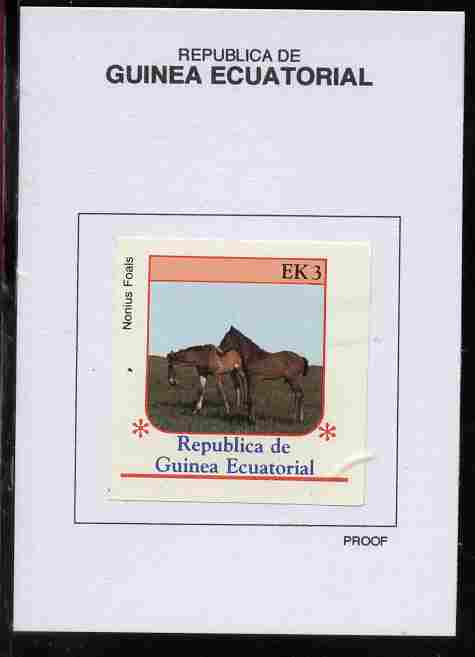 Equatorial Guinea 1976 Horses 3EK Nonius Foals proof in issued colours mounted on small card - as Michel 806