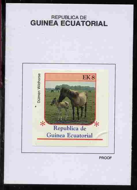 Equatorial Guinea 1976 Horses 8EK Dulmen Wildhorse proof in issued colours mounted on small card - as Michel 808