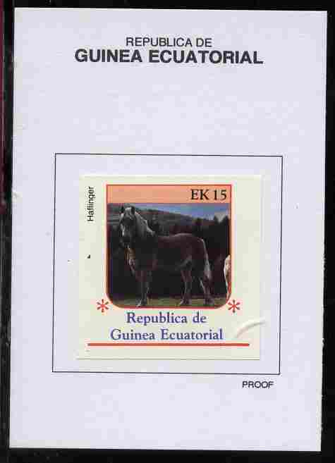 Equatorial Guinea 1976 Horses 15EK Haflinger proof in issued colours mounted on small card - as Michel 809