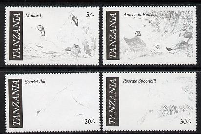 Tanzania 1986 John Audubon Birds set of 4 perforated proofs in black only (asSG 464-7) unmounted mint