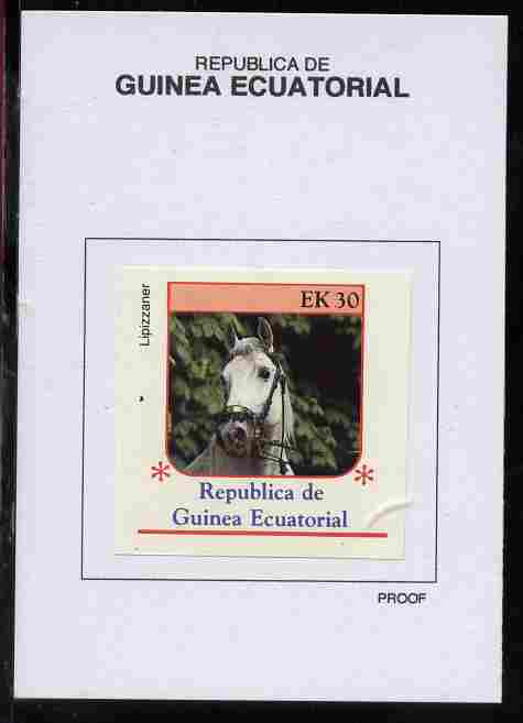 Equatorial Guinea 1976 Horses 30EK Lipizzaner proof in issued colours mounted on small card - as Michel 810