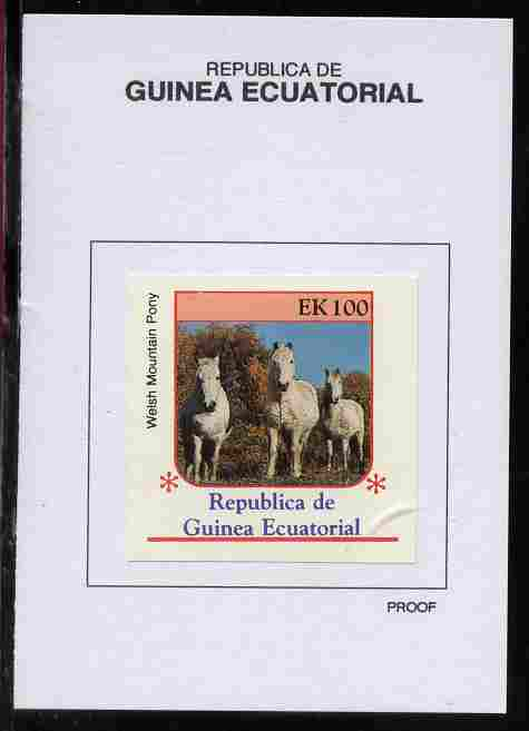 Equatorial Guinea 1976 Horses 1000EK Welsh Mountain Pony proof in issued colours mounted on small card - as Michel 812