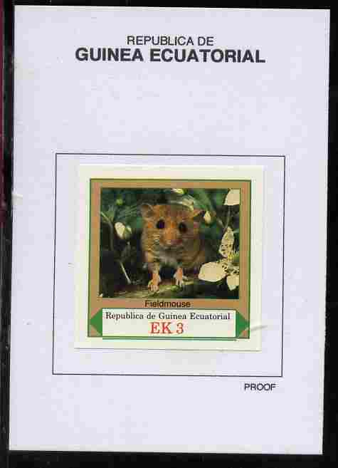 Equatorial Guinea 1977 European Animals 3EK Fieldmouse proof in issued colours mounted on small card - as Michel 1138