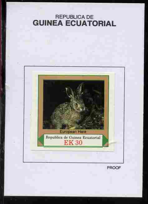 Equatorial Guinea 1977 European Animals 30EK European Hare proof in issued colours mounted on small card - as Michel 1142