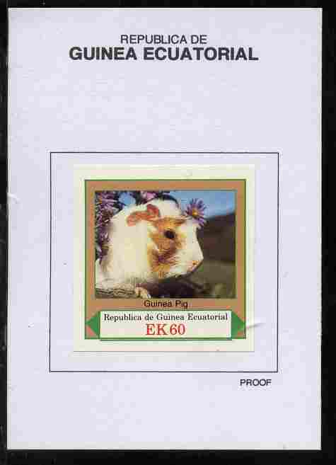 Equatorial Guinea 1977 European Animals 60EK Guinea Pig proof in issued colours mounted on small card - as Michel 1143