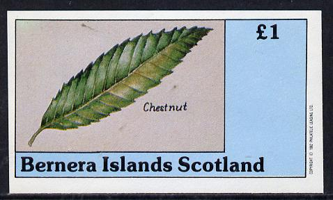 Bernera 1982 Tree Leaves (Chestnut) imperf souvenir sheet (�1 value) unmounted mint