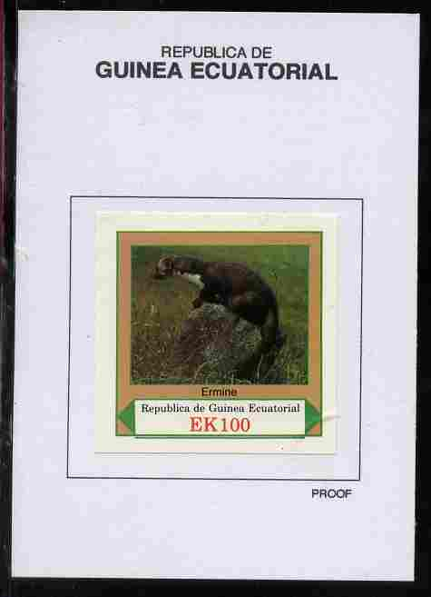 Equatorial Guinea 1977 European Animals 100EK Ermine proof in issued colours mounted on small card - as Michel 1144