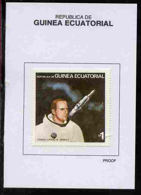 Equatorial Guinea 1978 USA Astronauts 1EK Charles Conrad proof in issued colours mounted on small card - as Michel 1411