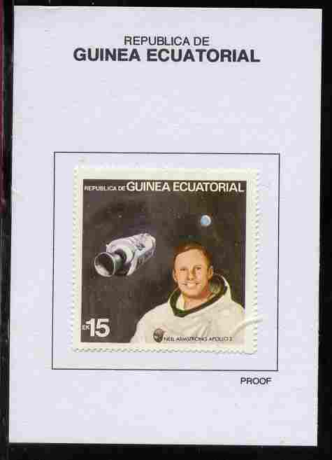 Equatorial Guinea 1978 USA Astronauts 15EK Neil Armstrong proof in issued colours mounted on small card - as Michel 1415
