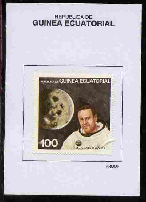 Equatorial Guinea 1978 USA Astronauts 100EK James Lovell Jr proof in issued colours mounted on small card - as Michel 1418