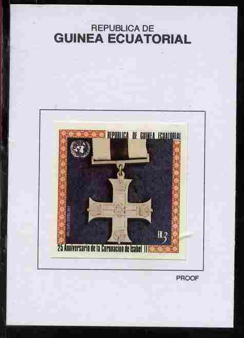 Equatorial Guinea 1978 Coronation 25th Anniversary (Medals) 3EK Military Cross 1914 proof in issued colours mounted on small card - as Michel 1387