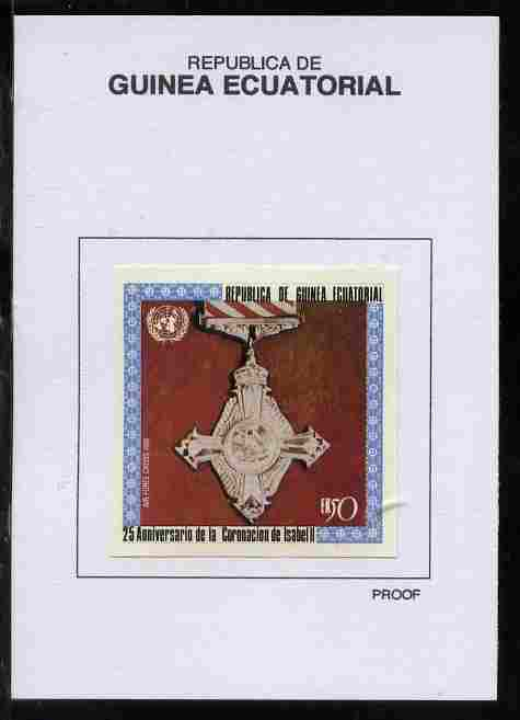 Equatorial Guinea 1978 Coronation 25th Anniversary (Medals) 50EK Air Force Cross 1918 proof in issued colours mounted on small card - as Michel 1391