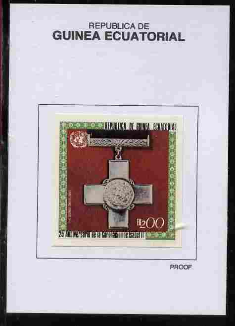 Equatorial Guinea 1978 Coronation 25th Anniversary (Medals) 200EK The George Cross 1940 proof in issued colours mounted on small card - as Michel 1393