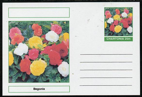 Chartonia (Fantasy) Flowers - Begonia postal stationery card unused and fine