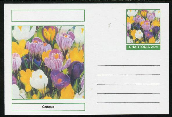 Chartonia (Fantasy) Flowers - Crocus postal stationery card unused and fine