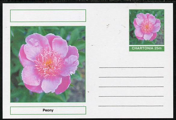Chartonia (Fantasy) Flowers - Peony postal stationery card unused and fine