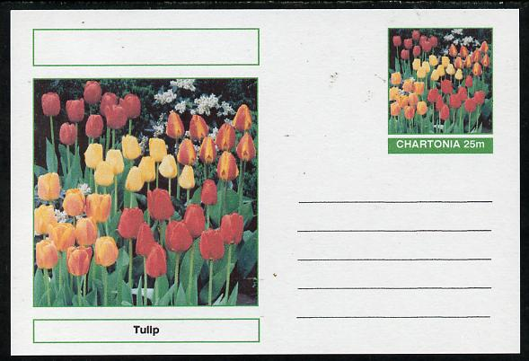Chartonia (Fantasy) Flowers - Tulip postal stationery card unused and fine, stamps on flowers
