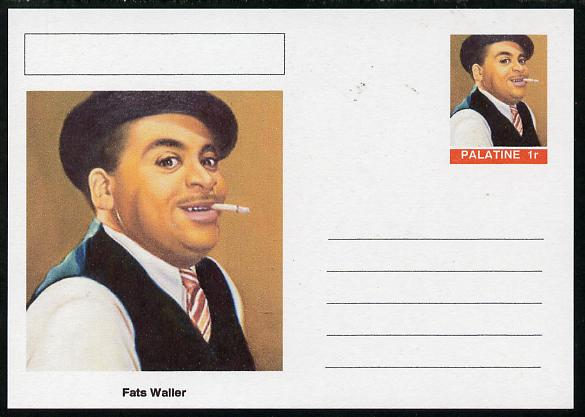 Palatine (Fantasy) Personalities - Fats Waller postal stationery card unused and fine