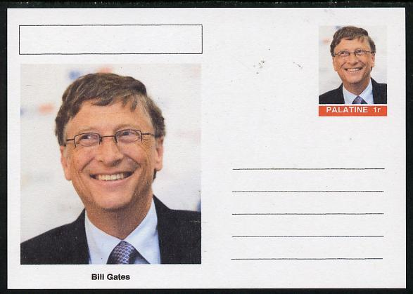 Palatine (Fantasy) Personalities - Bill Gates postal stationery card unused and fine