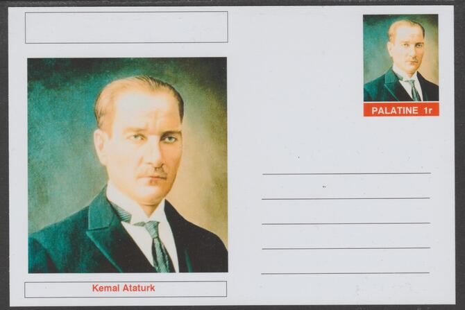 Palatine (Fantasy) Personalities - Kemal Ataturk postal stationery card unused and fine
