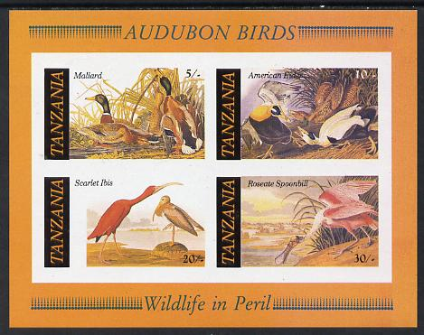 Tanzania 1986 John Audubon Birds m/sheet imperf (as SG MS 468) unmounted mint