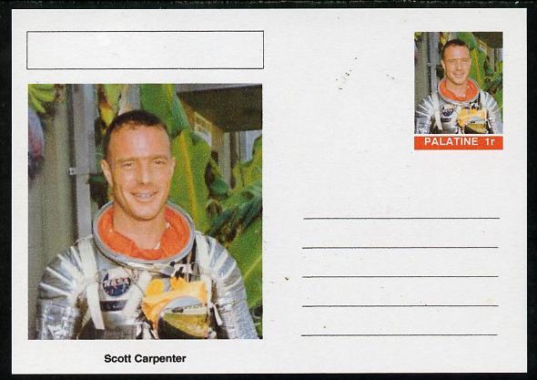 Palatine (Fantasy) Personalities - Scott Carpenter (astronaut) postal stationery card unused and fine
