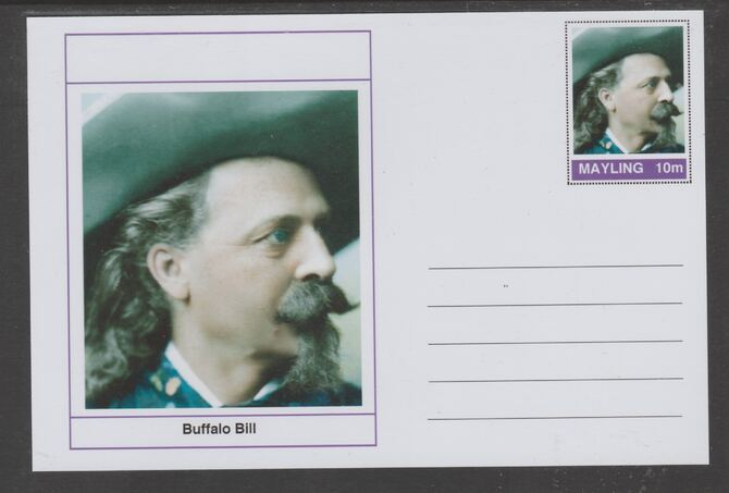 Mayling (Fantasy) Wild West - Buffalo Bill glossy postal stationery card unused and fine
