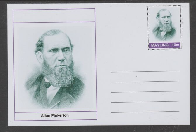 Mayling (Fantasy) Wild West - Allan Pinkerton glossy postal stationery card unused and fine
