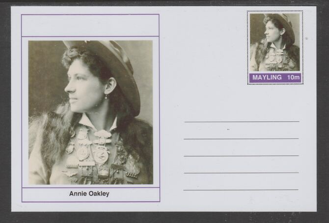 Mayling (Fantasy) Wild West - Annie Oakley glossy postal stationery card unused and fine