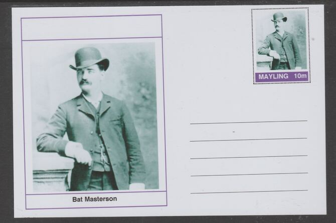 Mayling (Fantasy) Wild West - Bat Masterson glossy postal stationery card unused and fine