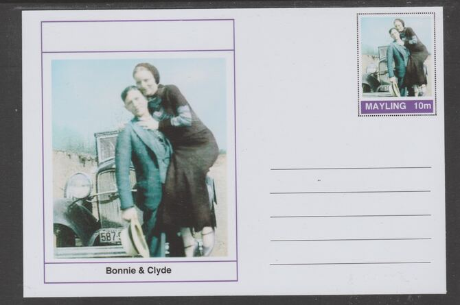 Mayling (Fantasy) Wild West - Bonnie & Clyde glossy postal stationery card unused and fine