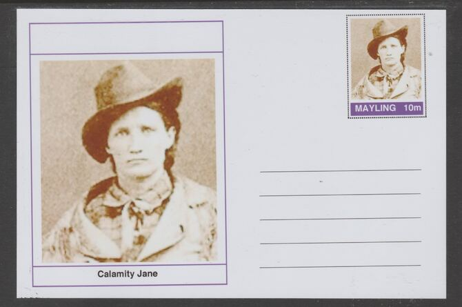 Mayling (Fantasy) Wild West - Calamity Jane glossy postal stationery card unused and fine