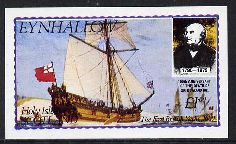 Eynhallow 1979 Rowland Hill (The First British Yacht) imperf souvenir sheet (�1 value) unmounted mint