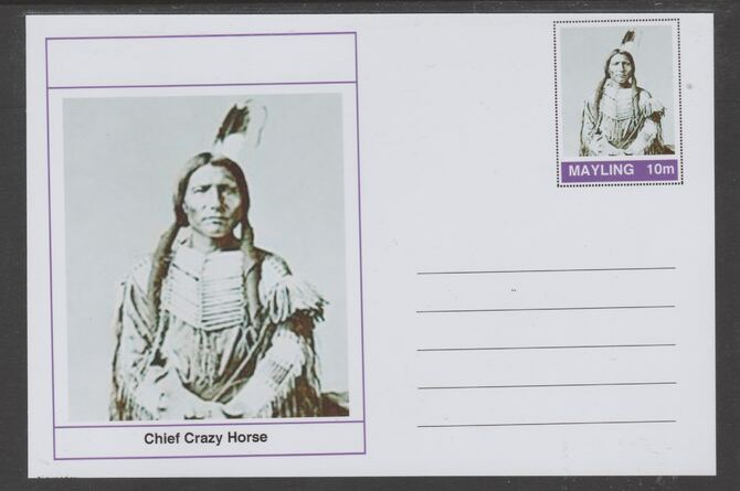 Mayling (Fantasy) Wild West - Chief Crazy Horse glossy postal stationery card unused and fine
